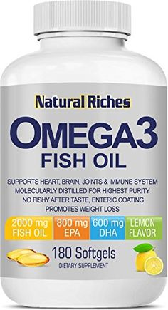 Fish Oil Omega 3 Supplement from Natural Riches 180 Softgel Capsules  Lemon Flavor Essential Fatty Acids Triple Strength Burpless 800mg EPA 600mg DHA 100  Natural >>> Want additional info? Click on the image.