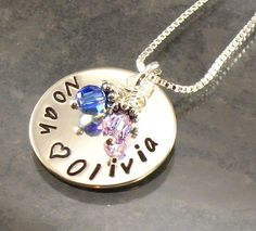 mothers+necklace+with+children's+names   Personalized Mothers Necklace - Two Kids Names Hand Stamped - One ...