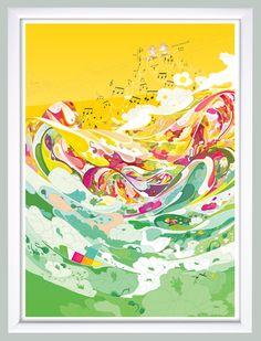 『光の音』額入りポスター - 絵雑貨ゆらゆらり