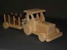 Tracteur avec remorque bois : jouet en bois artisanal