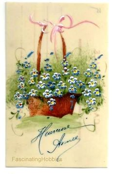VINTAGE HANDPAINTED Basket Blue White FLOWERS on Celluloid Postcard - Early French Handmade postcard - Greetings- very fresh, Good Condition