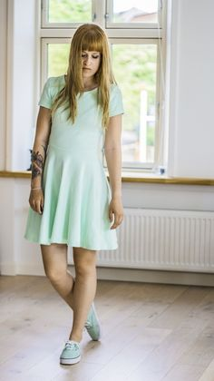 #mint #vans #dress #tattoos #brown hair #bangs #mintdress