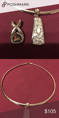 Omega gold and silver necklace with two sliders. Multi colored slider is mystic topaz and the other is opal. Worn once or twice. Jewelry Necklaces