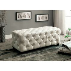 Furniture of America Kendra Tufted Faux Leather Bench in White | Jet.com