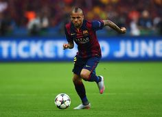 Daniel Alves of Barcelona in action during the UEFA Champions League Final between Juventus and FC Barcelona at Olympiastadion on June 6, 2015 in Berlin, Germany