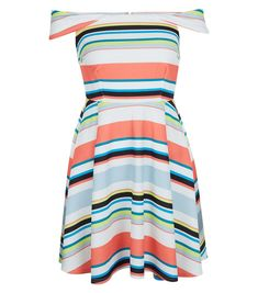 For a cheap and cheerful wedding guest dress, what about this multi-coloured striped dress from New Look, which costs £29.99? The Bardot neckline is so flattering.