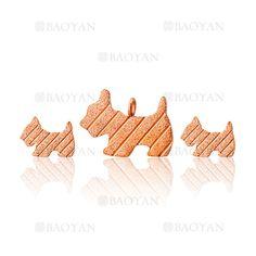 juego colgante y aretes de perro en acero rosado inoxidable -SSSTG504655