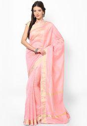 Cotton Fancy Contrast Border Banarasi Pink Saree