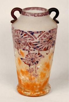 """Art Deco """"Ancolies Vase"""" by Le Verre Francais - Charder"""
