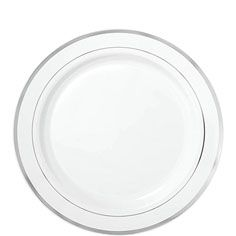 A classic addition to any party these heavy-duty plastic plates feature an elegant metallic silver border.  sc 1 st  Pinterest & Bulk Wedding Party Disposable dinnerware Heavyweight China ...