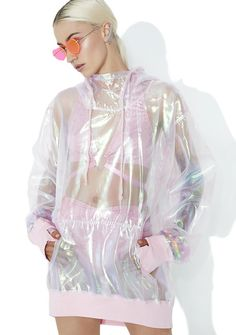 Club Exx Bubble Pop Iridescent Hoodie cuz you float in like a Good Witch, bb...Wave yer magic wand in this sweet pullover featuring an xxtra shiny N' sheer iridescent construction, contrasting pink ribbed cuffs and hem, oversized fit, front pouch pocket, thumb holes, standing collar and drawstring hood.