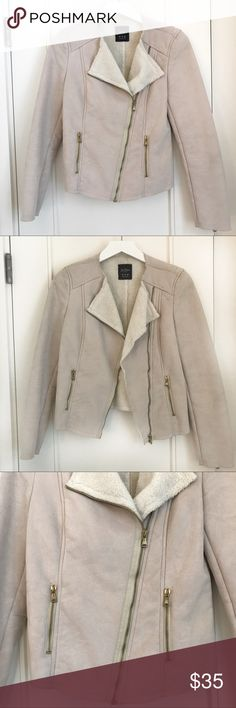 Zara | Faux Suede Biker Jacket | Beige color Never used Zara Faux Suede motor jacket. Beautiful color for spring! Pair it with some light denim jeans and sneakers!   It's in great condition since it's never used! Zara Jackets & Coats