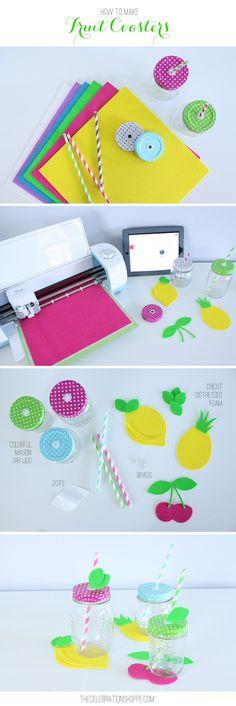 DIY Summer Fruit Coasters Made with the Cricut Explore Air // Fun Summer Decor // DIY Summer Party Decor with Fun Mason Jars
