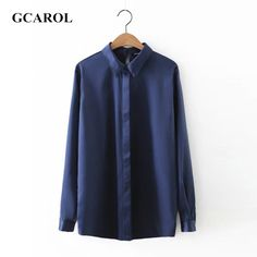 GCAROL Women OL Office Blouse Stain Fabric Smooth Shirt High Quality Solid Oversized Basic Tops For 4 Season