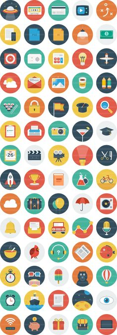 Print to create personal stickers Ballicons is a colorful set of scalable icons featuring the flat design trend