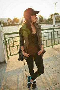 Look with green army jacket and baseball cap
