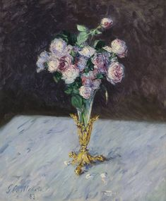 Learn more about Bouquet De Roses Dans Un Vase De Cristal Gustave Caillebotte - oil artwork, painted by one of the most celebrated masters in the history of art. Art Floral, Vase Cristal, Crystal Vase, Edgar Degas, Camille Pissarro, Art Moderne, Edouard Manet, Paul Cezanne, Renoir