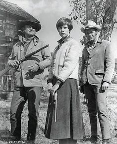 """Kim Darby, center, had to have plenty of """"sand"""" and """"grit"""" to star as the movie's leading lady Mattie Ross opposite John Wayne's Rooster Cogburn (left) and Glen Campbell's La Boeuf (right) in the original 1969 Hal Wallis production of Charles Portis's novel True Grit. Frontier Justice, Glen Campbell, Lead Lady, The Marshall, Weight Training Workouts, True Grit, New Clip, Western Movies"""