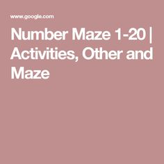 Number Maze 1-20 | Activities, Other and Maze