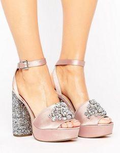 ASOS HOLLYWOOD Embellished Platform Sandals