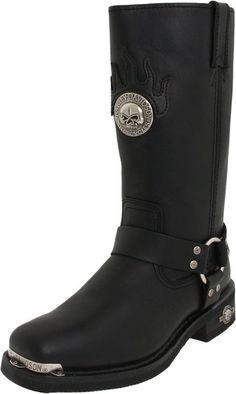 Harley-Davidson Men's Delinquent Harness Boot,Black,11.5 M $139.95 http://skullcart.com/harley-davidson-mens-delinquent-harness-skull-boots/ #skull #boots #skullcart