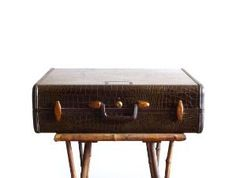 Faux alligator brown samsonite suitcase, vintage luggage by VintageandMain