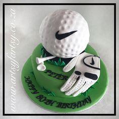 Golf Ball Cake #golfballcake Golf Ball Cake, Golf Cakes, Fondant Cakes, Cupcake Cakes, Cupcakes, Ball Birthday, 60th Birthday, Terry's Chocolate Orange, Sport Cakes
