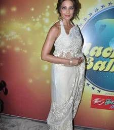 Buy Bipasha Basu White Heavy Stylish designer Saree bipasha-basu-saree online