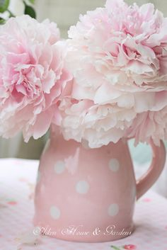 Aiken House & Gardens: Pink Peonies & Roses in pink polka dot pitcher ...lovely  #flowers #floral