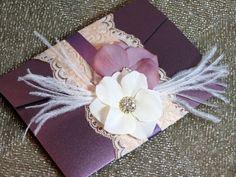 Vingage Glamour Lace Wedding Invitation - Plum & Blush - Customizable - Handmade. $10.25, via Etsy.