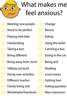 School anxiety, school refusal, anxiety management worksheet to help student understand what makes them feel anxious and to help teachers and aides implement appropriate anxiety management strategies such as sensory breaks, classroom breaks, and emotion r School Stress, Counseling Activities, Therapy Activities, Anxiety Activities, Counseling Worksheets, Therapy Worksheets, Group Counseling, Play Therapy, Special Education