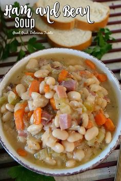 Ham and Bean Soup is loaded with leftover ham beans carrots celery onions spices all in a delicious broth hamandbeansoup hamrecipes beansoup comfortfood greatgrubdelicioustreats Easy Ham And Bean Soup Recipe, Bean Soup Recipes, Recipes With Ham Broth, Bean Soup With Ham, Easy Homemade Soups, Homemade Beans, Leftover Ham Recipes, Easy Ham Recipes, Crockpot Recipes