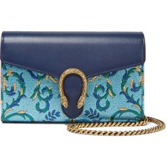 GucciDionysus Metallic Brocade And Leather Shoulder Bag (14 795 ZAR) ❤ liked on Polyvore featuring bags, handbags, shoulder bags, blue, gucci, metallic leather handbags, gucci purse, gucci handbags, blue leather handbags and blue purse