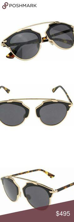 Dior So real Sunglasses New and authentic  Dior So real Sunglasses  Gold and black leather  Includes original case Dior Accessories Sunglasses