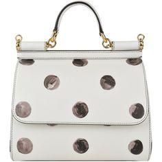 DOLCE AND GABBANA Polka Dot Saffiano Leather Bag (108.775 RUB) found on Polyvore featuring bags, handbags, tote bags, purses, borse, polka dot print, studded tote bag, polka dot tote, saffiano leather handbag and studded purse