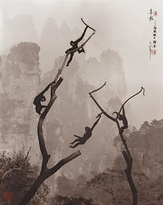 Don Hong-Oai - At Play, Tianzi Mountain, Photography in the style of a traditional Chinese painting of late Song and Yuan dynasties. Chinese Painting, Chinese Art, Tianzi Mountains, Art Chinois, Art Asiatique, Art Graphique, Landscape Photographers, Asian Art, Japanese Art