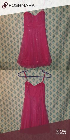 EUC sparkly pink dress EUC sparkly pink dress Worn for my birthday once Hand washed Ties in back Top has padding Jung kim Dresses Mini