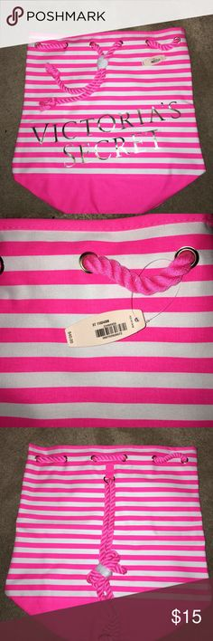Victoria's Secret Drawstring Bag Victoria's Secret Drawstring Bag. Closes with the rope drawstrings. New, never been used! Size is 17 inches by 17 inches. Hot pink and white with silver lettering. Victoria's Secret Bags Totes