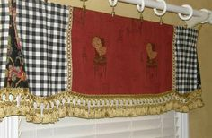 Custom Valance Curtain French Country Provence Red Gold Rooster Black Check Trim | eBay