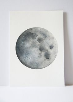 Watercolour Moon Print, Moon art, Boho Decor, Bohemian art, Space Art, Lunar art, Indie Decor