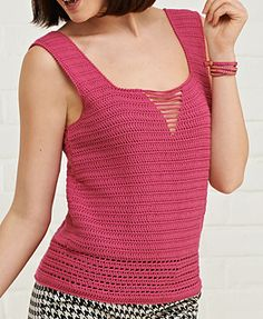Crochet Blouse Ravelry: Pink Lady top pattern by Annelies Baes (Vicarno) Printed: this source is a book, magazine, or pamphlet Simply Crochet, Issue 29 - Filet Crochet, T-shirt Au Crochet, Pull Crochet, Mode Crochet, Simply Crochet, Crochet Shrugs, Crochet Sweaters, Crochet Pattern, Crochet Tank Tops