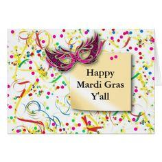 #gold - #Happy Mardi Gras Y'all Card