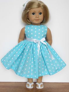 "New Doll Clothes Fits 18"" American Girl Doll Handmade Polka Dot Dress #Handmade"