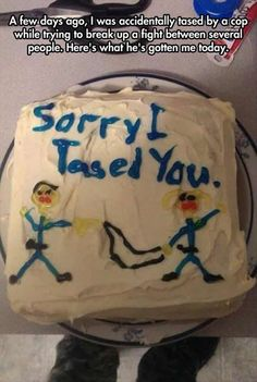 "Apology Cake Made By A Policeman. ""Sorry, I tased you."""