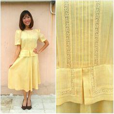 Vintage Dress 1960 / Pastel Yellow Vintage by HEIRESSxVintage, $46.00