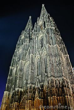 Night shot of Cologne Cathedral, the largest Gothic church in Northern Europe and one of the largest churches in the world.