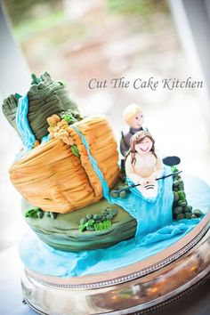 Kayaking Couple Wedding Cake - Cake by Cut The Cake Kitchen