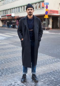 """hel-looks:    James, 24  """"Classic British style and the 60s inspire me. Now I'm wearing a Weekday coat and second hand.""""  12 January 2013, Fredrikinkatu"""