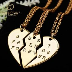 New collier choker necklace heart pendant pieces broken three best fri – Gifts Leads