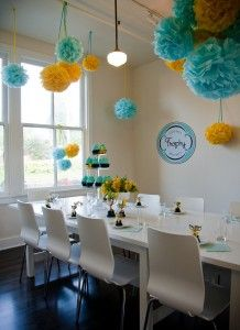 Trophy's Party Room in aqua and yellow.